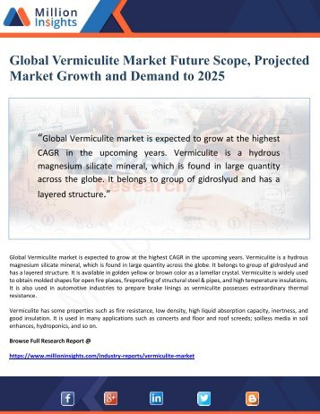 Global Vermiculite Market Future Scope, Projected Market Growth and Demand to 2025