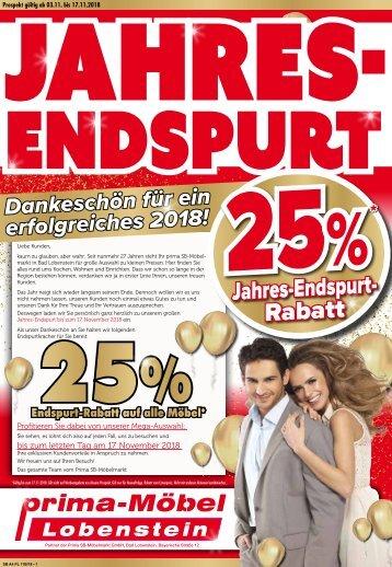 25%-Jahres-Endspurt-Rabatt - Prima Möbel, 07356 Bad Lobenstein