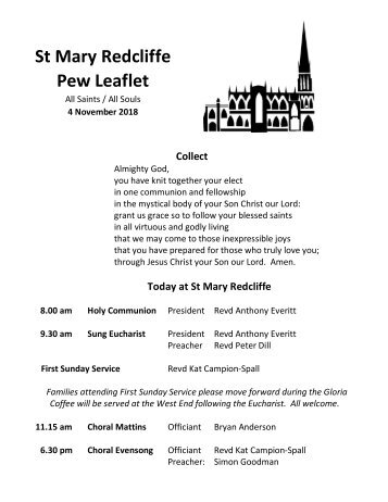St Mary Redcliffe Church Pew Leaflet - November 4 2018