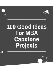 Good ideas for MBA capstone projects