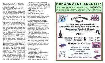 2018-11-04-RFEORMÁTUS HIRDETŐ - SUNDAY BULLETIN