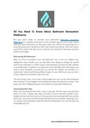 All You Need To Know About Bathroom Renovation Melbourne