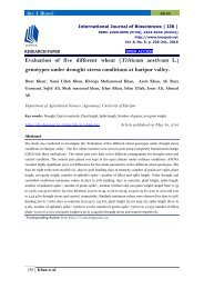 Evaluation of five different wheat (Triticum aestivum L.) genotypes under drought stress conditions at haripur valley.