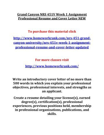 Grand Canyon NRS 451V Week 1 Assignment Professional Resume and Cover Letter NEW