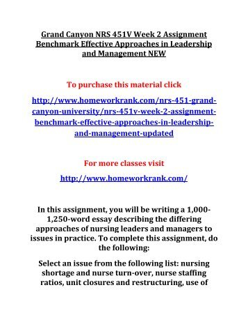 Grand Canyon NRS 451V Week 2 Assignment Benchmark Effective Approaches in Leadership and Management NEW