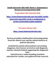 South University NSG 6001 Week 1 Assignment 4 Review of Learning Points NEW
