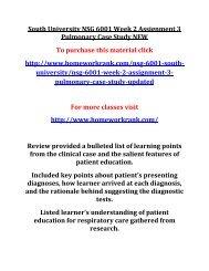 South University NSG 6001 Week 2 Assignment 3 Pulmonary Case Study NEW
