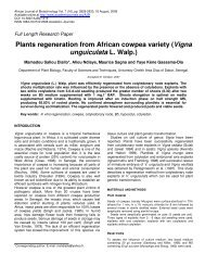Plants regeneration from African cowpea variety - Academic Journals