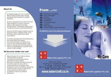 Download PDF Brochure Now - II Watercraft Logistics Pvt. Ltd.