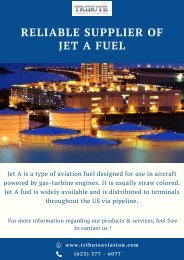 Reliable Supplier of Jet A Fuel   Tribute Aviation Services