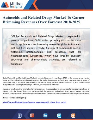 Autacoids and Related Drugs Market To Garner Brimming Revenues Over Forecast 2018-2025