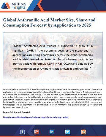 Global Anthranilic Acid Market Size, Share and Consumption Forecast by Application to 2025