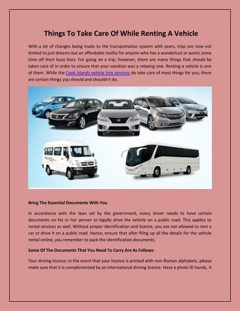 Things To Take Care Of While Renting A Vehicle