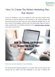 How To Create The Perfect Marketing Plan That Works?