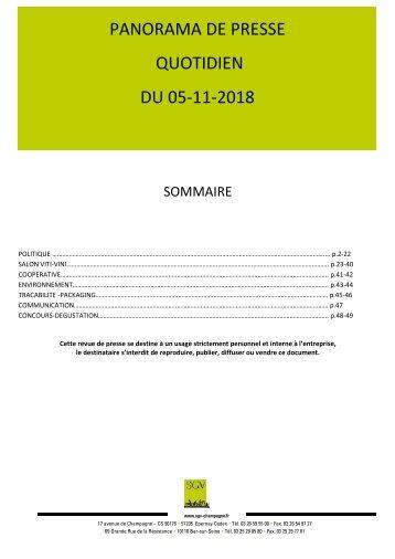 Panorama de presse quotidien du 05-11-2018