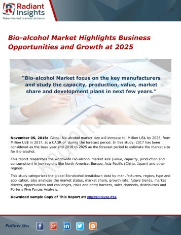Bio-alcohol Market Highlights Business Opportunities and Growth at 2025