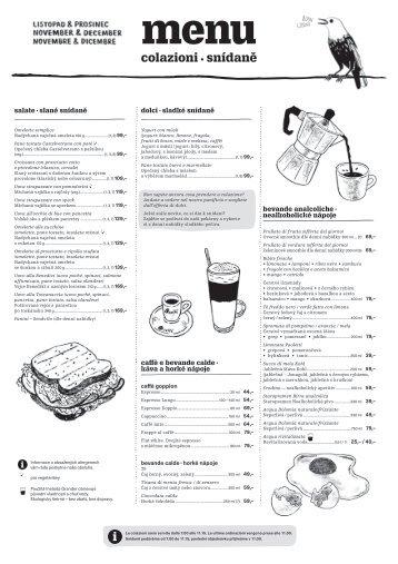 snídaně menu, listopad-prosinec