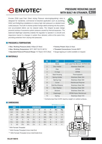 Pressure Reducing Valve with built-in Strainer E200