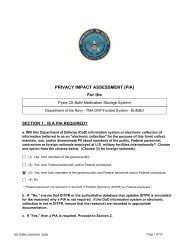 PRIVACY IMPACT ASSESSMENT (PIA) For the - Department of ...
