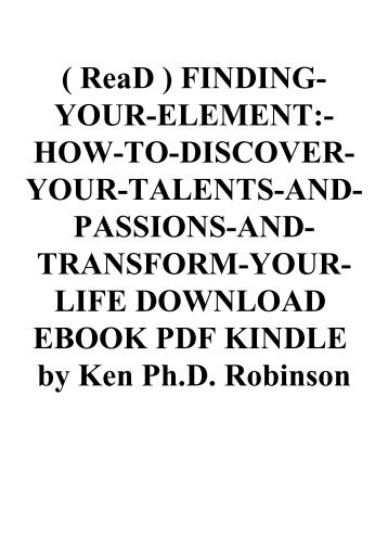 The Element By Ken Robinson Epub