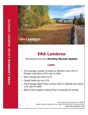 Missoula Land Market Update - October 2018