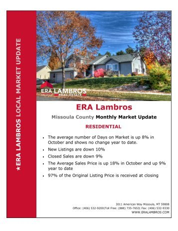 Missoula Residential Market Update - October 2018pub
