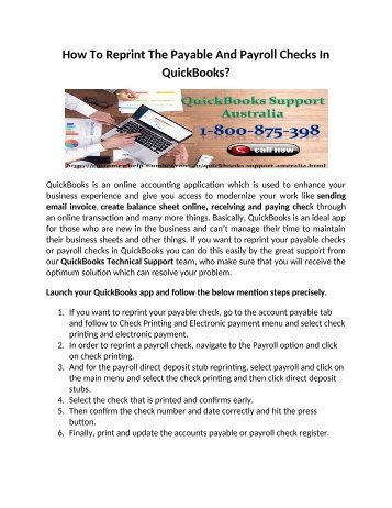 How to reprint the payable and payroll checks in Quickbooks