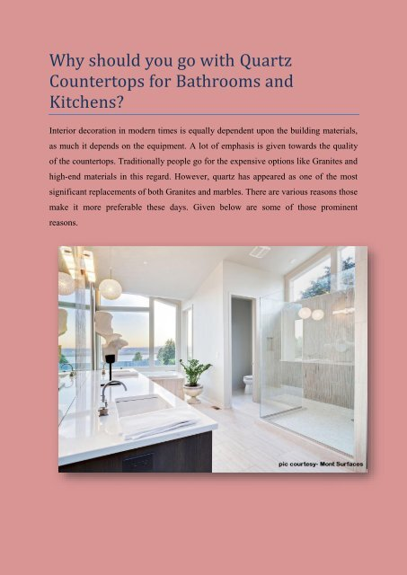 Why should you go with quartz countertops for bathrooms and kitchens
