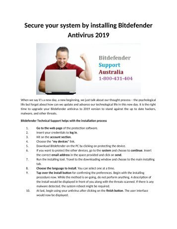 Secure your system by installing Bitdefender Antivirus 2019