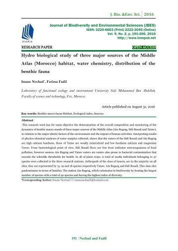 Hydro biological study of three major sources of the Middle Atlas (Morocco) habitat, water chemistry, distribution of the benthic fauna