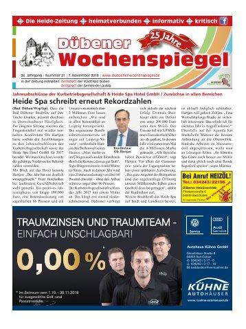 Dübener Wochenspiegel - Ausgabe 21 - Jahrgang 2018