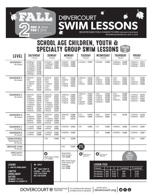 Dovercourt Fall 2 Swim lessons 2018-19