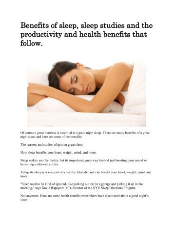 Benefits of sleep_ sleep studies and the productivity and health benefits that follow