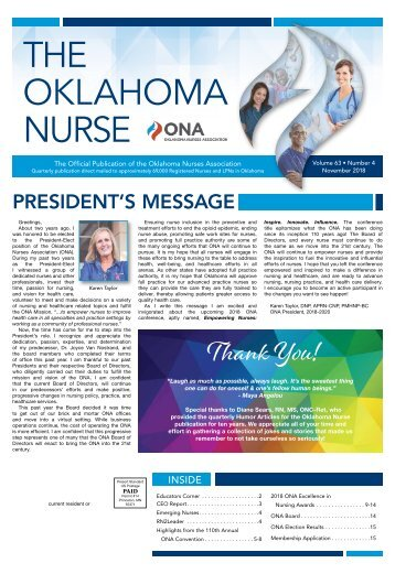 The Oklahoma Nurse - November 2018