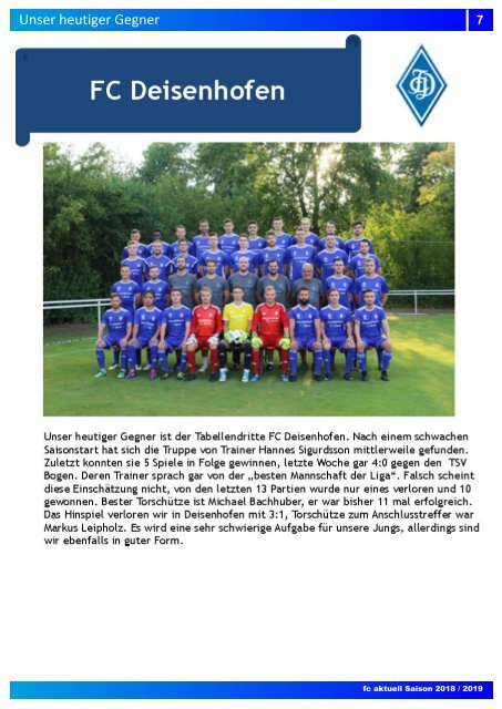 """""""fc aktuell"""" Saison 2018-19 Ausgabe 9"""