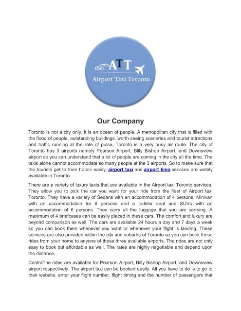 AIRPORT TAXI TORONTO -  EFFICIENT AND RELIABLE CAR SERVICE IN TOWN