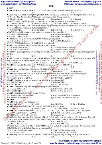 Bộ đề kiểm tra chương este lipit cacbohidrat amin aminoaxit peptit Hóa 12 theo mức độ nhận thức (Có đáp án) 2018
