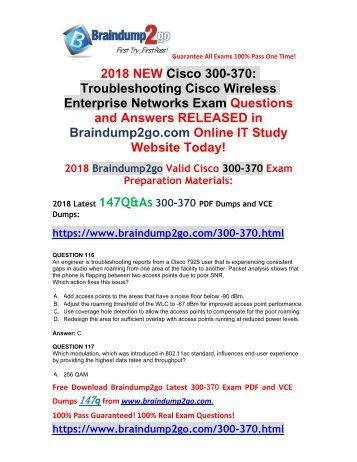 [2018-11-Version]New Braindump2go 300-370 PDF and 300-370 VCE Dumps 147Q Free Updated(Q116-Q126)