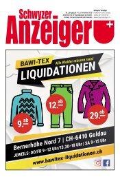 Schwyzer Anzeiger – Woche 45 – 9. November 2018