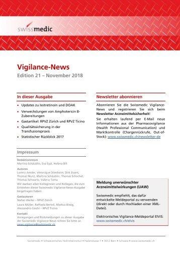 Swissmedic Vigilance-News Edition 21 – November 2018