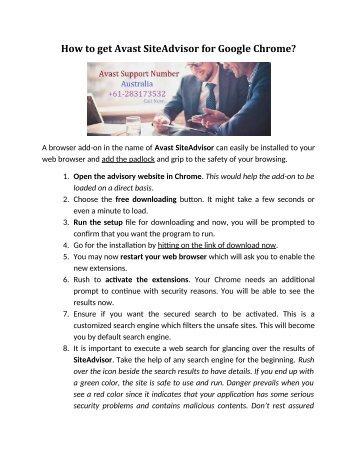 How to get Avast SiteAdvisor for Google Chrome