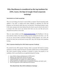 Why MaxMunus is considered as the top institute for AWS, Azure, DevOps & Google Cloud corporate training?