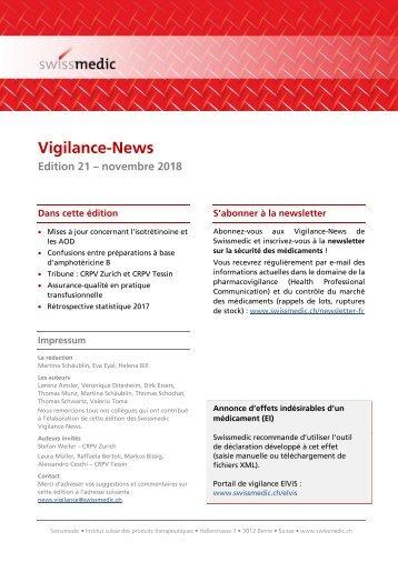 Swissmedic Vigilance News Edition 21 – Novembre 2018