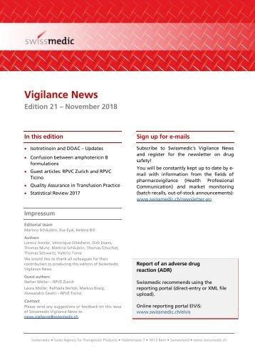 Swissmedic Vigilance News Edition 21 – November 2018