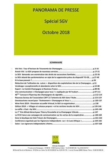 Panorama de presse Spécial SGV  octobre  2018