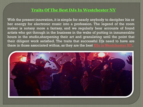 Traits Of The Best DJs In Westchester NY