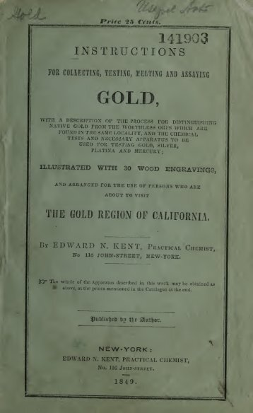 36 Instructions for Gold Collect 1849