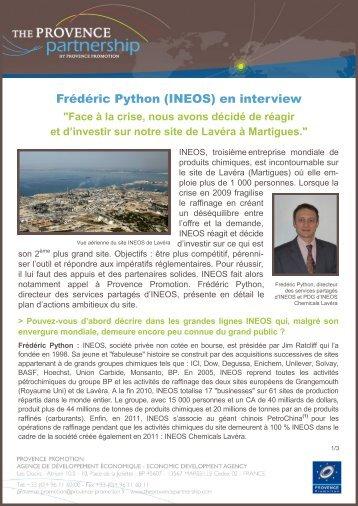 Frédéric Python (INEOS) en interview - Provence Promotion