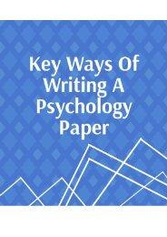Key Ways of Writing a Psychology Paper