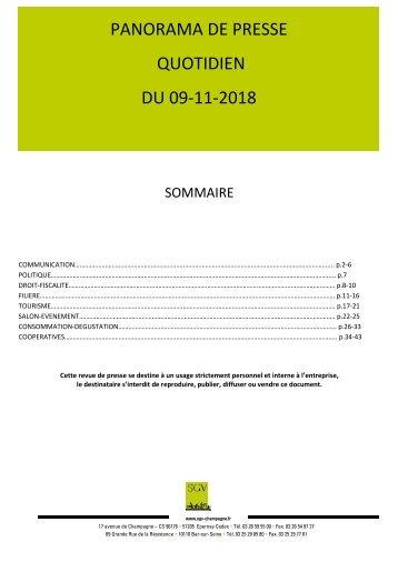 Panorama de presse quotidien du 09-11-2018